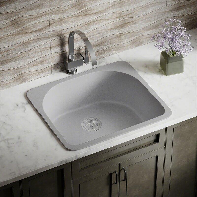 granite composite 25   x 22   drop in kitchen sink mrdirect granite composite 25   x 22   drop in kitchen sink      rh   wayfair com