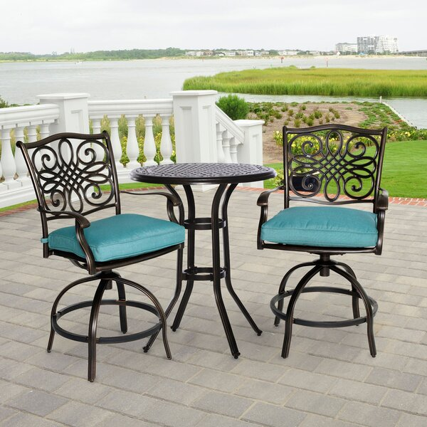 Carleton 3 Piece Round Bistro Set with Cushions by Fleur De Lis Living