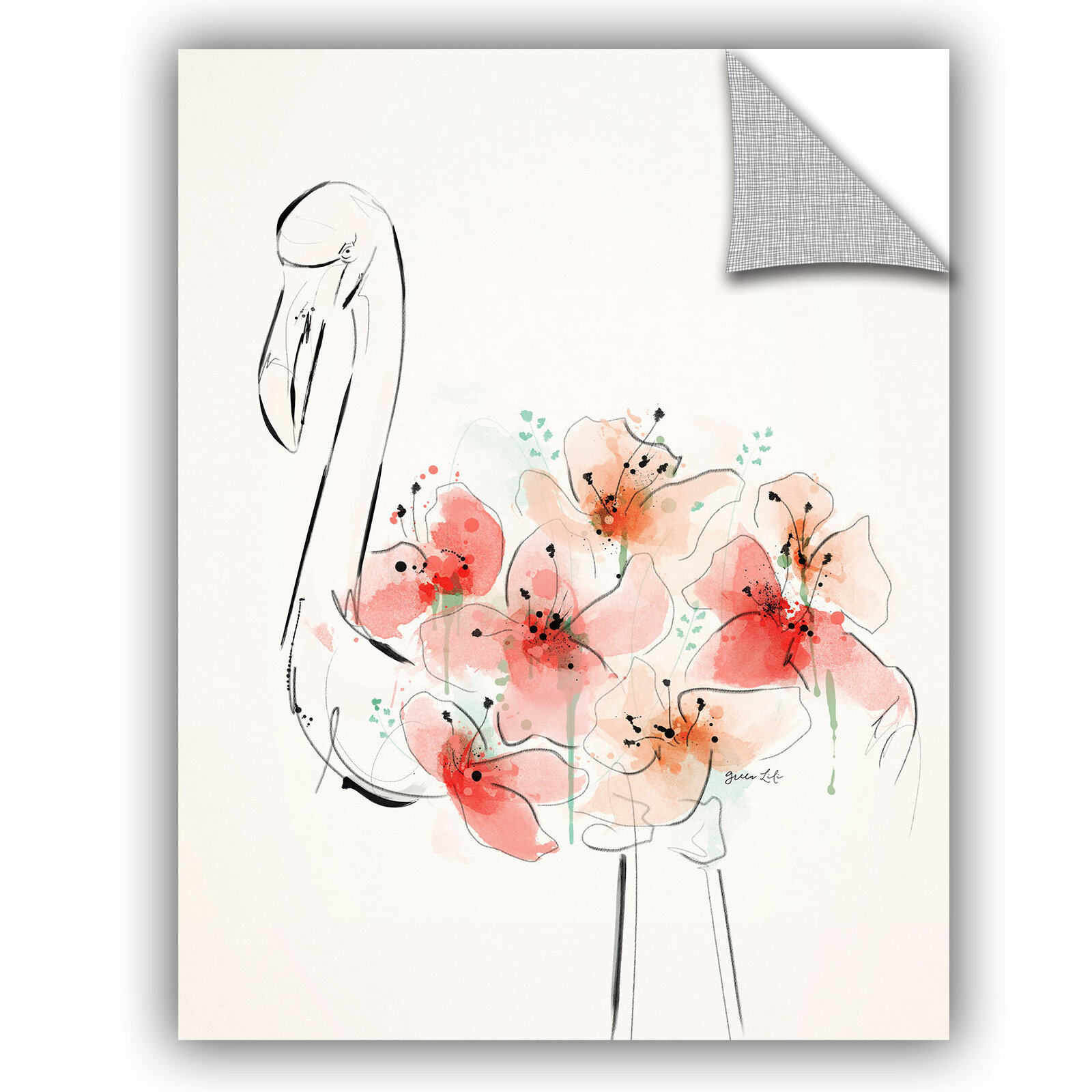 Artwall Green Lili Flamingo Flowers Wall Decal Wayfair