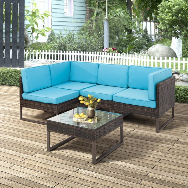 Geist 5 Piece Rattan Sectional Set with Cushions by Highland Dunes