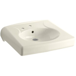 Compare Brenham Ceramic 22 Wall Mount Bathroom Sink with Overflow By Kohler