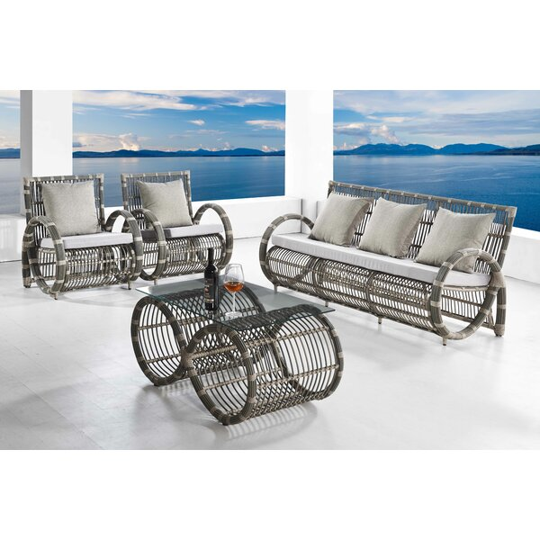 Lintz Infinity 4 Piece Sofa Set with Cushions by Rosecliff Heights