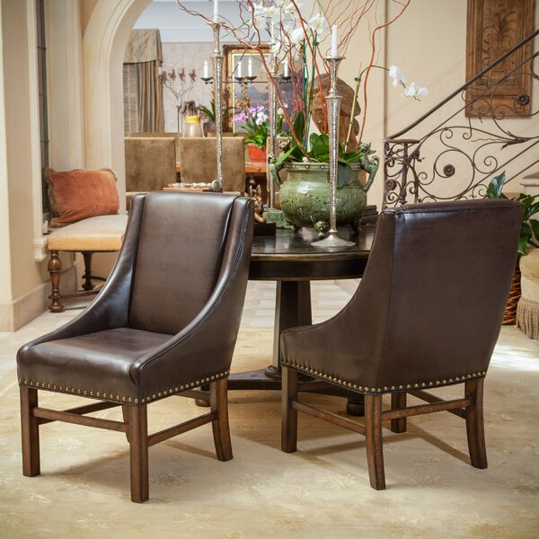 Vicki Bonded Leather Upholstered Dining Chair (Set of 2) by Loon Peak