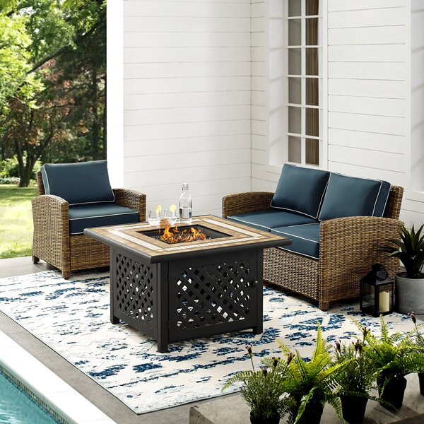Lawson 3 Piece Rattan Sofa Seating Group with Cushions by Birch Lane™ Heritage