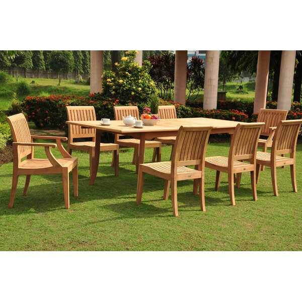 Cordell Luxurious 9 Piece Teak Dining Set By Rosecliff Heights