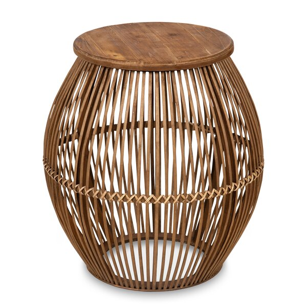 Pacheco Round Bamboo End Table by Bayou Breeze