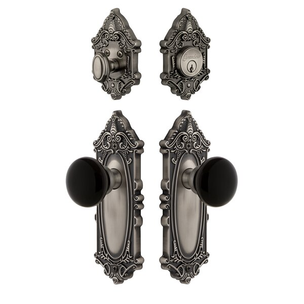 Grande Victorian Plate Single Cylinder Knob Comb Pack with Coventry Knob and matching Deadbolt by Grandeur
