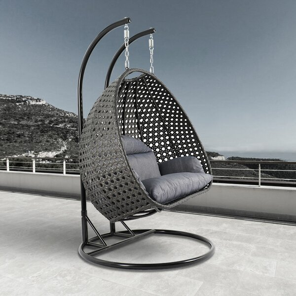 Schuster Wicker Hanging Egg Double Swing Chair with Stand by Bayou Breeze Bayou Breeze