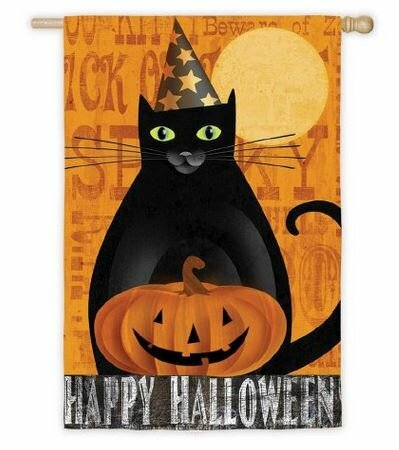 Halloween Night Ghost and Black Cat 2-Sided Vertical Flag by Evergreen Flag & Garden