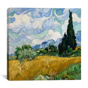 Wheatfield with Cypresses by Vincent Van Gogh Painting Print on Wrapped Canvas by iCanvas