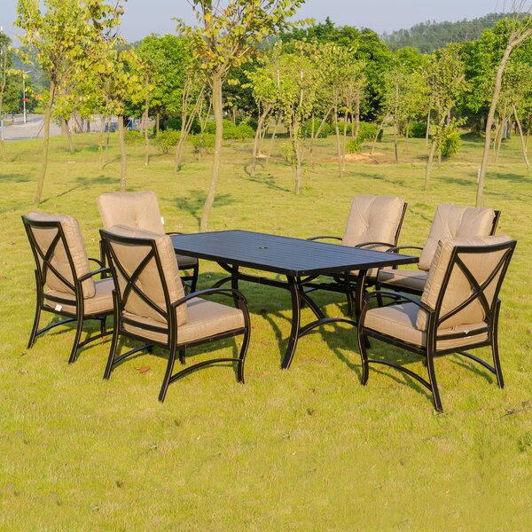 Kemper 7 Piece Dining Set with Cushions by Darby Home Co