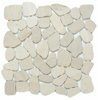 Cultura Pebbles 12 x 12 Marble Tile in Ivory by Emser Tile