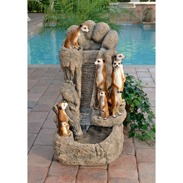 Resin Meerkat Family at the Watering Hole Garden Fountain by Wildon Home ®