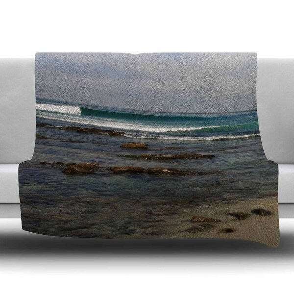 Clear Water Beach Fleece Throw Blanket by KESS InHouse