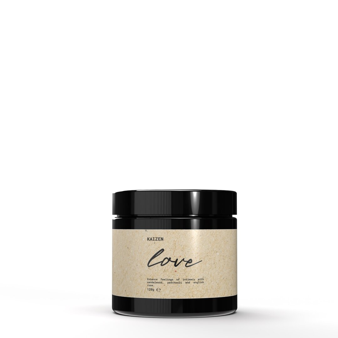 Love Sandalwood, Patchouli and English Rose Scented Jar Cand