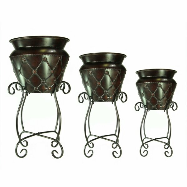 Grable Traditional Diamond Patterned 3-Piece Metal Pot Planter Set by Fleur De Lis Living