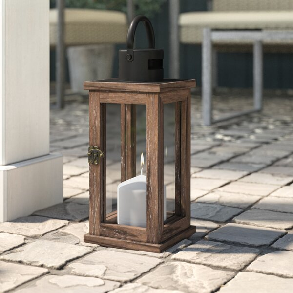 Wood/Glass Lantern by Union Rustic