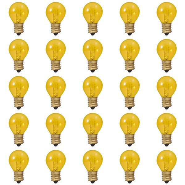 10W E17 Dimmable Incandescent Light Bulb Transparent Yellow (Set of 25) by Bulbrite Industries
