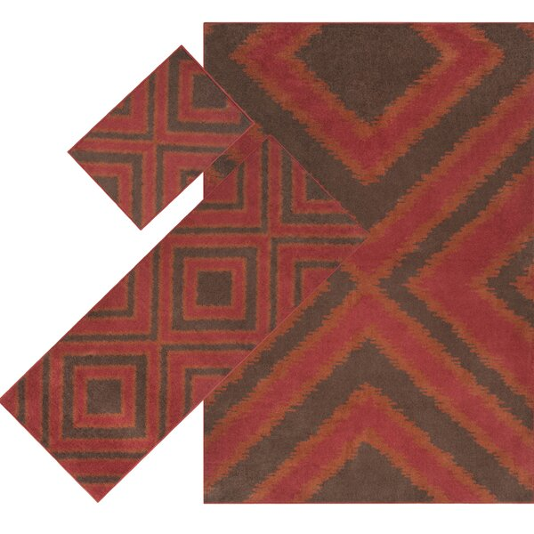 Caldwell Red 3 Piece Indoor/Outdoor Area Rug Set by Threadbind