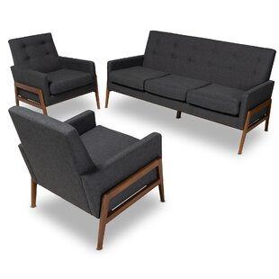 Dehart Mid-Century 3 Piece Living Room Set by George Oliver