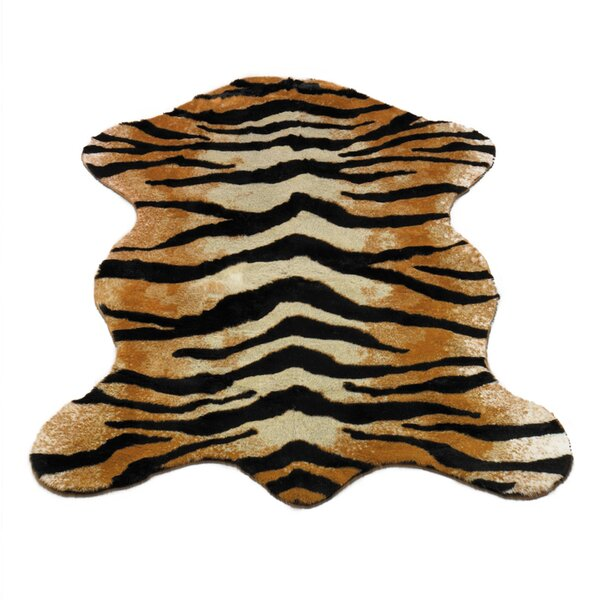 Animal Gold/BlackTiger Area Rug by Walk On Me