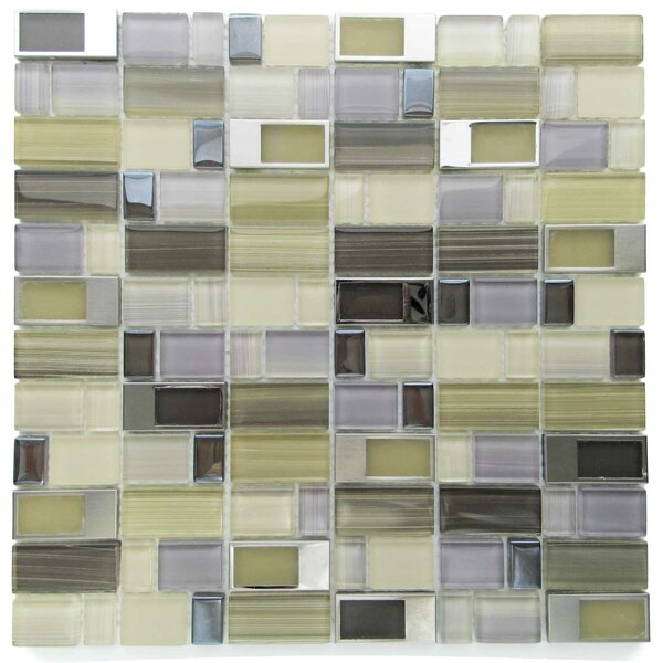 Clasp Soul Glass Mosaic Tile in Brass/Gray by Tile Focus