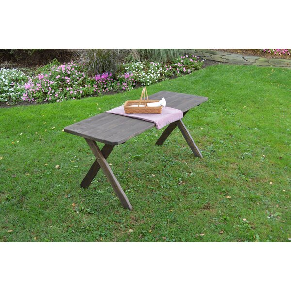 Pastrana Cross Leg Wooden Picnic Table with Umbrella Hole by Union Rustic