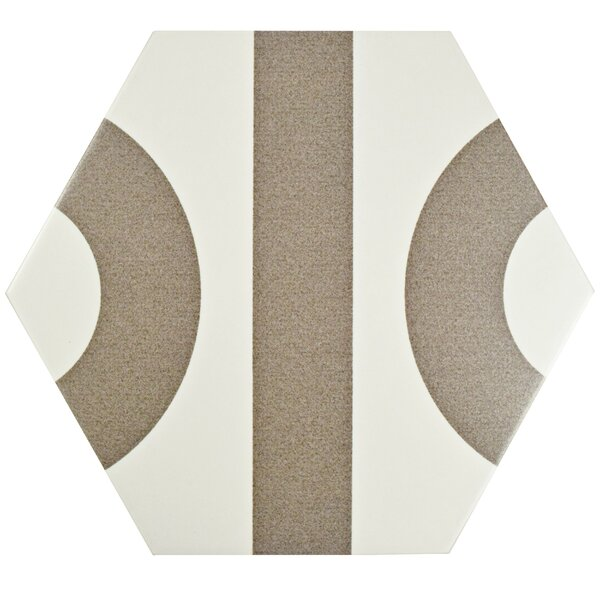 Roulent 9.88 x 11.38 Porcelain File Tile in White/Taupe by EliteTile