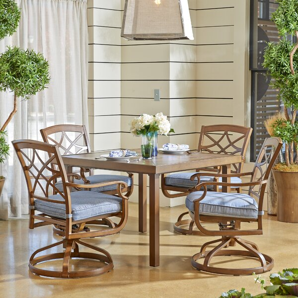Outdoor 5 Piece Dining Set with Sunbrella Cushions by Trisha Yearwood Home Collection