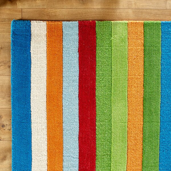 Rainbow Hand-Woven Wool Green/Blue/Orange Area Rug by Birch Lane Kids™