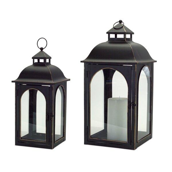 2 Piece Metal and Glass Lantern Set by Melrose International