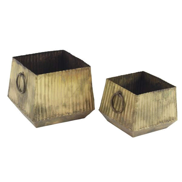 Kutz Industrial Square Corrugated 2-Piece Metal Pot Planter Set by Williston Forge