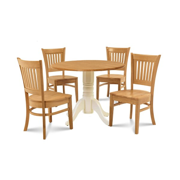 Humphrey 5 Piece Drop Leaf Solid Wood Dining Set by Millwood Pines Millwood Pines