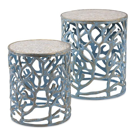 Briana Coral Mother Of Pearl 2 Piece Nesting Tables By Rosecliff Heights