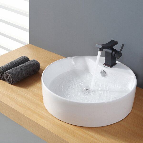 Ceramic Ceramic Circular Vessel Bathroom Sink with Overflow by Kraus