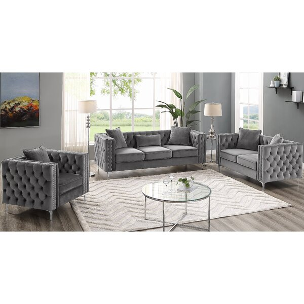 Marroquin Hickory Modern 3 Piece Living Room Set by House of Hampton