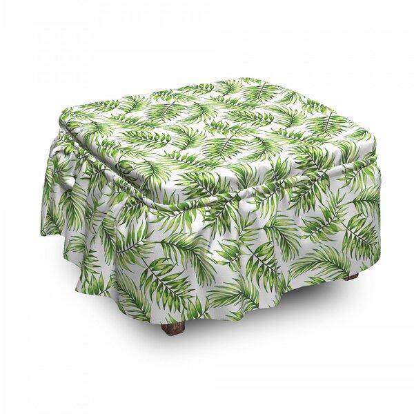 Palm Leaf Exotic Tree Hawaiian 2 Piece Box Cushion Ottoman Slipcover Set By East Urban Home