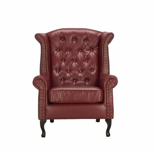 Goldstein Wingback Chair Williston Forge Upholstery Colour: Burgundy