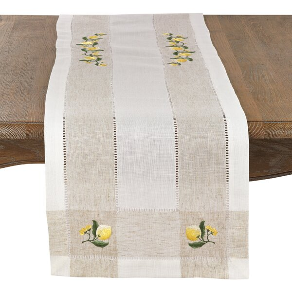 Beagley Lemon Linen Blend Hemstitched Table Runner by August Grove