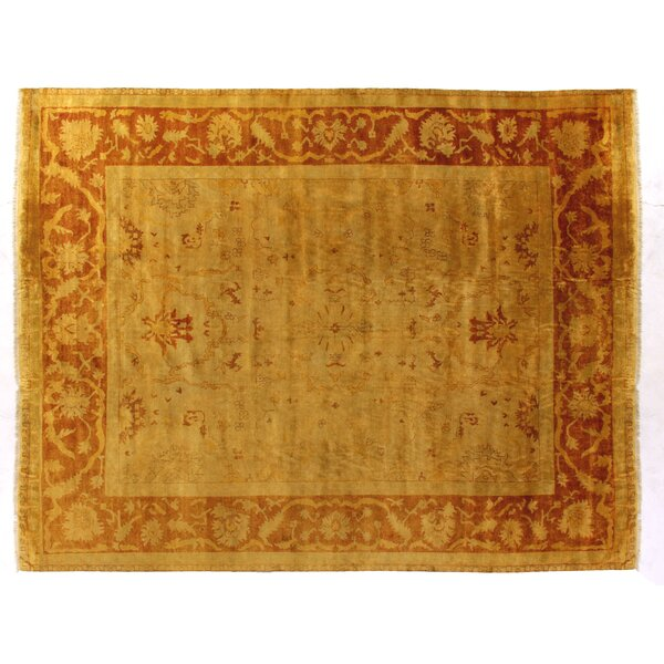 Anatolian Oushak Hand-Woven Wool Gold/Red Area Rug by Exquisite Rugs