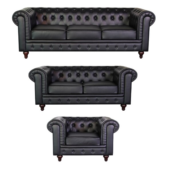 Lina Chesterfield 3 Piece Living Room Set by 17 Stories