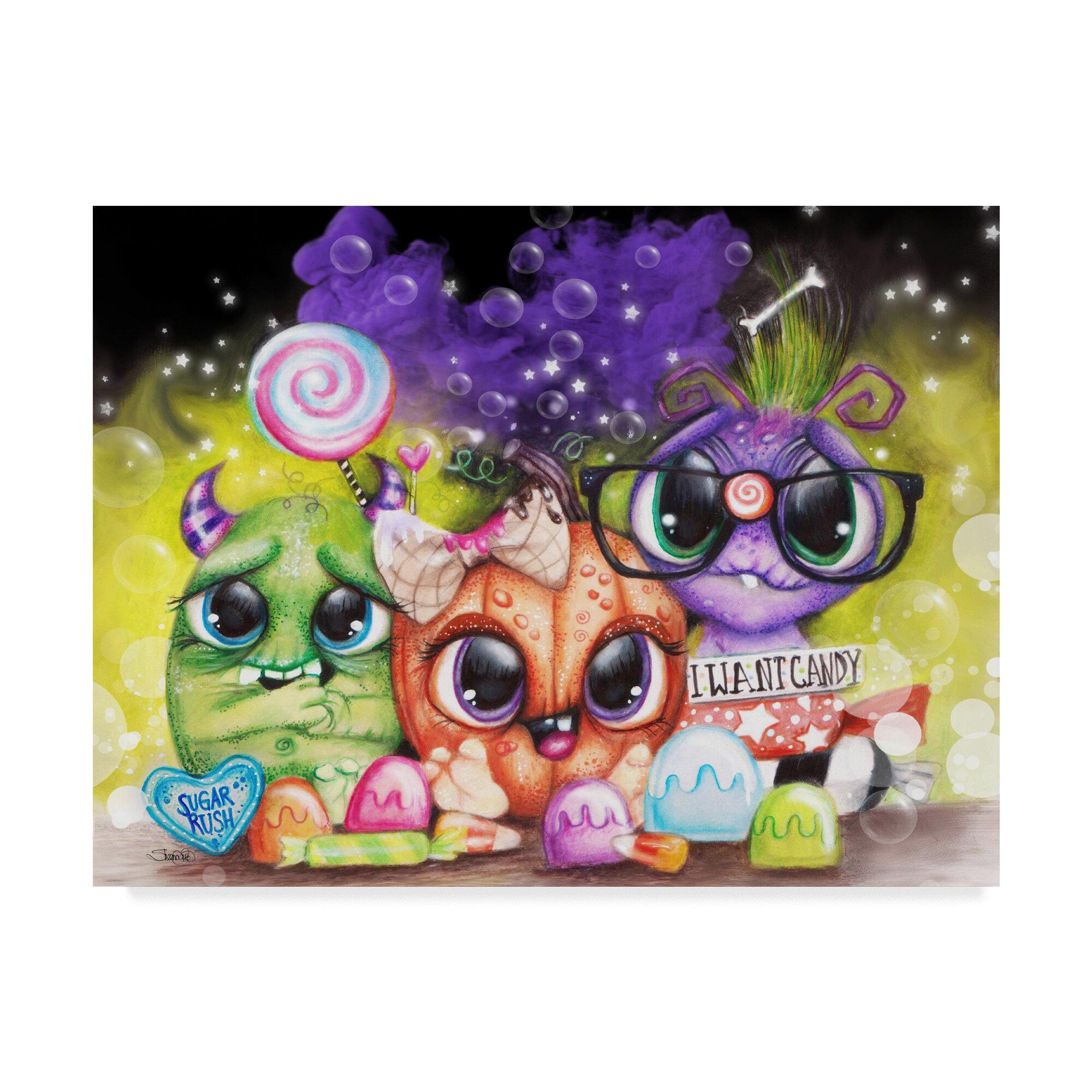 Trademark Art Lil Monsters Halloween Graphic Art Print On Wrapped Canvas Wayfair