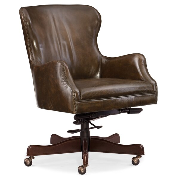 Caleb Home Office Mid-Back Leather Executive Chair by Hooker Furniture