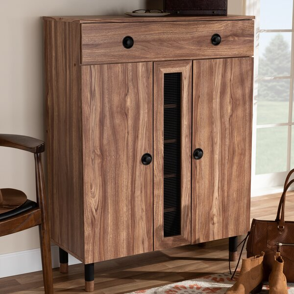 Modern and Contemporary 2 Door Wood Entryway 15 Pair Shoe Storage Cabinet