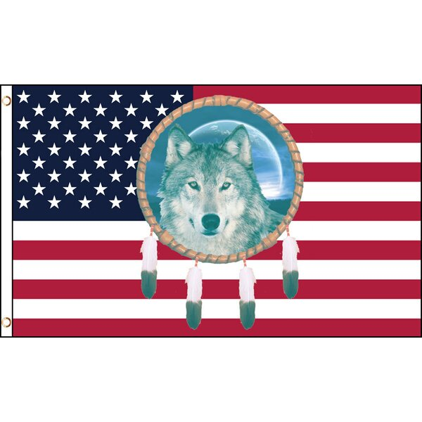 USA Dream Catcher Wolf Traditional Flag by Flags Importer
