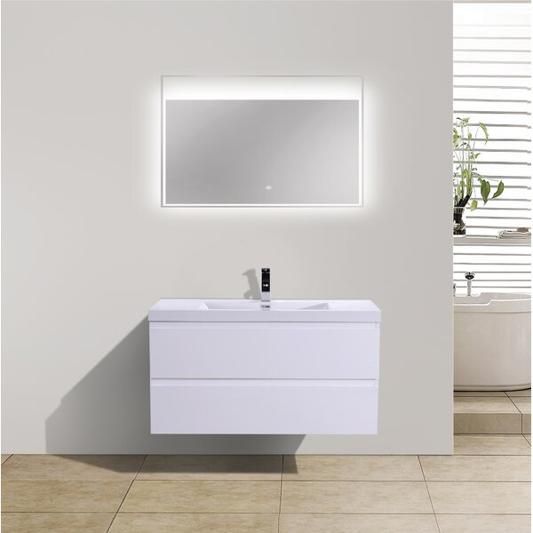 Lina 41.8 Wall Mounted Single Bathroom Vanity Set by Orren Ellis