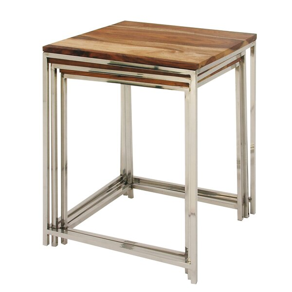 Wood/Stainless Steel 3 Piece Nesting Tables by Cole & Grey Cole & Grey