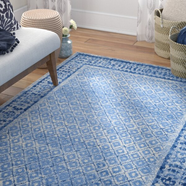 North Brookfield Silver & Blue Area Rug by Bungalow Rose