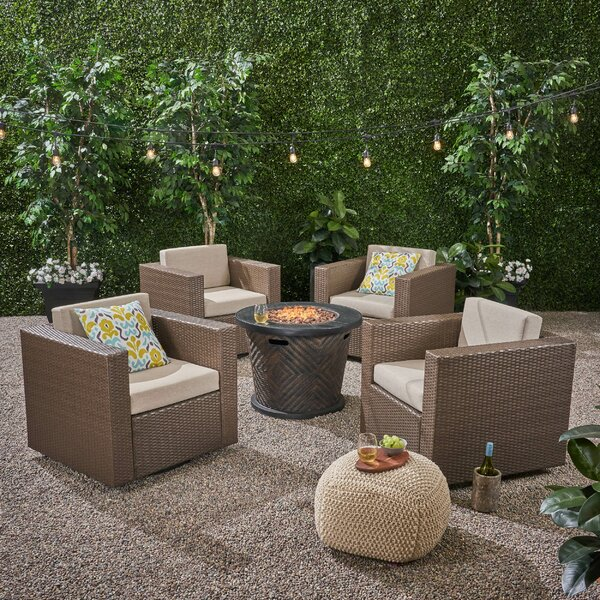 Olague Outdoor 4 Piece Multiple Chairs Seating Group with Cushions by Red Barrel Studio