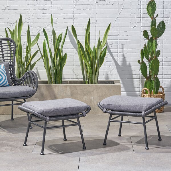 Gosnold Outdoor Ottoman With Cushion (Set Of 2) By Bungalow Rose